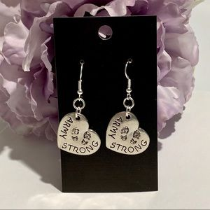 """Army Strong"" Fashion Heart Earrings"